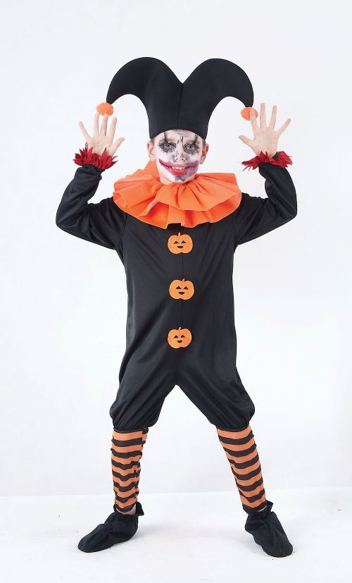 Boys Evil Jester Costume Nasty Wicked Villian Fancy Dress Outfit
